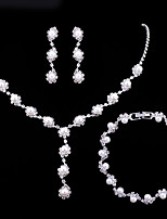 cheap -Women's Crystal Pearl Jewelry Set Bracelet Pearl Necklace Dainty Ladies Simple Fashion Elegant Bridal Earrings Jewelry White For Wedding Party Engagement Gift Engagement Party Bridal Shower