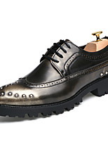 Men's Shoes Patent Leather Fall Winter Formal Shoes Oxfords Lace-up For Casual Party & Evening Red Brown Black