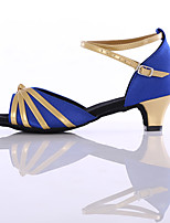 Women's Latin Leatherette Heel Beginner Low Heel Blue Red Fuchsia Black Customizable