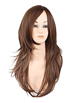 Women Synthetic Wigs Capless Medium Long Deep Wave Kinky Straight Medium Brown Ombre Hair Natural Hairline Layered Haircut Party Wig
