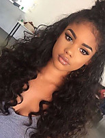 cheap -Women Human Hair Lace Wig Peruvian Human Hair Glueless Lace Front 150% Density With Baby Hair Water Wave Wig Black Short Medium Length