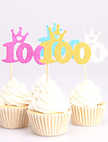 24pcs 100days birthday decorations cupcake toppers picks Kids party decoration baby shower paper glitter cup cake topper