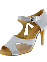 Women's Latin Silk Sandal Performance Buckle Cuban Heel White 2