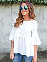 T-shirt Da donna Per uscire Casual Sensuale Romantico Per tutte le stagioni,Tinta unita Rotonda Cotone Manica lunga Medio spessore