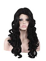 жен. Парики из искусственных волос Без шапочки-основы Средний Длиный Свободные волны Глубокие волны Темно-красный Черный Природные волосы