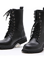 abordables -Femme Chaussures Vrai cuir Automne Hiver Bottes de Cowboy / Western Bottes Cavalières boîtes de Combat Bottes Bottes Mi-mollet Pour