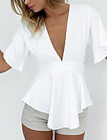Women's Holiday Going out Beach Sexy Simple Cute All Seasons Summer Shirt,Solid V Neck Rayon Thin