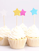 24PCS Lovely Glitter Star Cupcake Topper Cake Picks Baby Shower Souvenir Party Supplies Birthday Decoration Kids