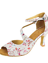 Women's Latin Real Leather Sandal Performance Buckle Pattern/Print Cuban Heel White 2
