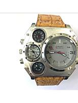 abordables -JUBAOLI Hombre Reloj Deportivo Reloj Militar Reloj creativo único Cuarzo Calendario Dos Husos Horarios Piel Banda Cool Negro CaquiNegro