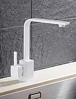 Недорогие -Современный Стандартный Носик Чаша Вращающийся Керамический клапан Одной ручкой одно отверстие кухонный смеситель