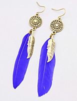 New Bohemian Style Vintage Drop Long Earrings Fashion Feather Dangle Earrings For Women Hollow Round Rhinestone Metal Leaves Earrings Jewelry