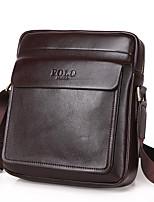 Men Bags All Seasons PU Shoulder Bag Zipper for Casual Office & Career Black Brown