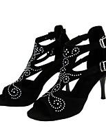 Women's Latin Flocking Sandal Performance Crystal Detailing Buckle Stiletto Heel Black 3