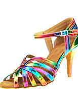 Women's Latin Real Leather Sandal Performance Buckle Criss-Cross Stiletto Heel Rainbow 3