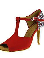 Women's Latin Flocking Sandal Performance Buckle Pattern/Print Stiletto Heel Red 3