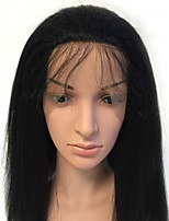 100% Human Hair Full Lace Wig with Baby Hair Bleached Knots 150% Density Kinky Straight