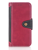 cheap -Case For Apple iPhone 7 Plus iPhone 7 Card Holder Wallet with Stand Flip Full Body Cases Solid Color Hard PU Leather for iPhone 7 Plus