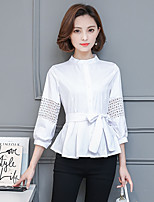 cheap -Women's Casual/Daily Street chic Shirt,Solid Stand ¾ Sleeve Cotton