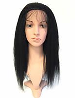 economico -Donna Parrucche di capelli umani con retina Birmano Remy Lace frontale Senza colla e con tulle frontale 130% Densità Con ciuffetti Crespo