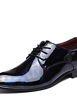 Men's Shoes Patent Leather Fall Winter Formal Shoes Oxfords Lace-up For Casual Party & Evening Blue Red Black