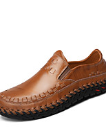 Men's Shoes Nappa Leather Spring Fall Comfort Loafers & Slip-Ons Split Joint For Casual Party & Evening Brown Black