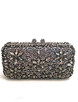 cheap -Women Bags Metal Satin Evening Bag Crystal Detailing for Wedding Event/Party All Season Dark Gray