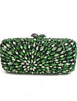 Недорогие -жен. Мешки Полиуретан Металл Вечерняя сумочка Кристаллы для Для праздника / вечеринки Все сезоны Зеленый