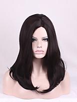Femme Perruque Synthétique Sans bonnet Mi Longue Long Ondulation profonde Brun Au Milieu Coupe Dégradée Perruque Naturelle Perruque