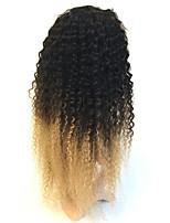Brasiliano Cappelli veri Lace frontale 130% Densità Kinky Curly Parrucca Nero / Strawberry Blonde 100% cucito a mano