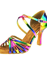 Women's Latin Real Leather Sandal Performance Buckle Criss-Cross Cuban Heel Rainbow 2