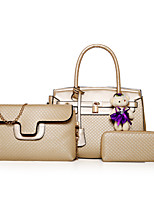 Women Bags All Seasons PU Bag Set Zipper for Casual Office & Career Blue Gold White Black Red