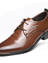 Men's Shoes Patent Leather Fall Winter Formal Shoes Oxfords Lace-up For Casual Party & Evening Brown Black