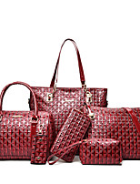 Women Bags All Seasons PU Bag Set Zipper for Casual Office & Career Black Silver Red Fuchsia Brown