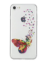 baratos -Capinha Para Apple iPhone X iPhone 8 Estampada Capa traseira Borboleta Macia TPU para iPhone X iPhone 8 Plus iPhone 8 iPhone 7 Plus