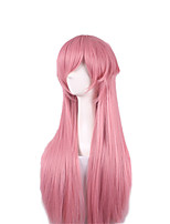 Women Synthetic Wig Capless Long Straight Pink Layered Haircut Party Wig Halloween Wig Cosplay Wig Costume Wig