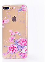 baratos -Capinha Para Apple iPhone X / iPhone 8 Transparente / Estampada Capa traseira Flor Macia TPU para iPhone X / iPhone 8 Plus / iPhone 8