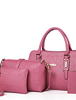 Women Bags All Seasons PU Bag Set Zipper for Casual Formal Blue White Black Red Blushing Pink
