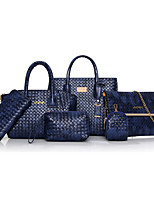 Women Bags All Seasons PU Bag Set Zipper for Casual Office & Career Blue White Black Red Brown