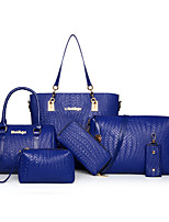 Women Bags All Seasons PU Bag Set Zipper for Casual Formal Blue White Black Red Fuchsia