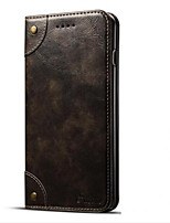 cheap -Case For Apple iPhone 7 Plus iPhone 7 Card Holder Wallet with Stand Flip Magnetic Full Body Cases Solid Color Hard PU Leather for iPhone