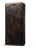 abordables -Coque Pour Apple iPhone 7 Plus iPhone 7 Porte Carte Portefeuille Avec Support Clapet Magnétique Coque Intégrale Couleur unie Dur faux cuir