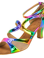 Women's Latin Faux Leather Sandals Performance Buckle Cuban Heel Rainbow 2