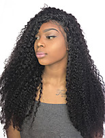 Women Human Hair Lace Wig Malaysian Human Hair 360 Frontal 130% Density With Baby Hair With Ponytail Curly Wig Black Long For Black Women