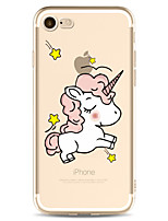 cheap -Case For Apple iPhone 7 Plus iPhone 7 Transparent Pattern Back Cover Unicorn Cartoon Soft TPU for iPhone 7 Plus iPhone 7 iPhone 6s Plus