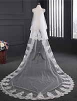 Lady's Elegant Classic Wedding Veil Two-tier Chapel Veils Lace Applique Edge Lace Tulle