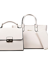 Women Bags All Seasons PU Bag Set Zipper for Casual Formal White Black Red Blushing Pink Gray