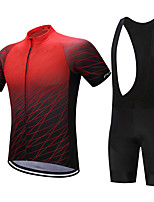Cycling Jersey with Bib Shorts Men's Short Sleeves Bike Shorts Shirt Sweatshirt Jersey Tops Quick Dry Moisture Permeability Reduces