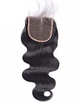 Недорогие -бразильский человеческий волос тела волна кружева закрытия отбеленные узлы 4x4 дюймов человеческих волос закрытие естественных волос с