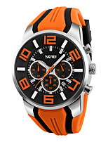 SKMEI Men's Wrist watch Quartz Silicone Band Black Blue Red Orange Green